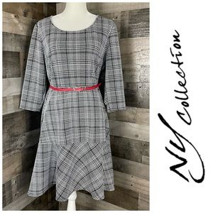 New York Collection Belted Dress 3/4 Sleeves XL